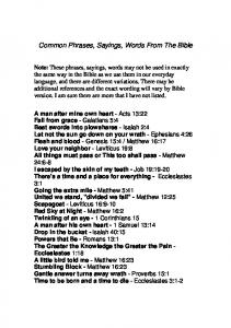 Common Phrases, Sayings, Words From The Bible