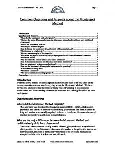 Common Questions and Answers about the Montessori Method