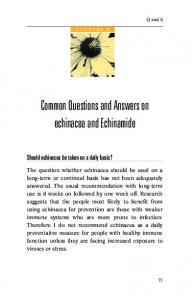 Common Questions and Answers on echinacea and Echinamide