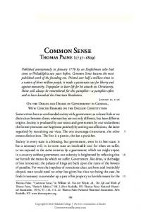 Common Sense Thomas Paine ( )