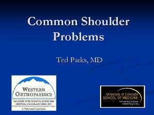 Common Shoulder Problems. Ted Parks, MD