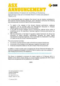 COMMONWEALTH BANK OF AUSTRALIA FINANCIAL REPORTING AND 2013 INTERIM PROFIT ANNOUNCEMENT TEMPLATE