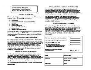 Commonwealth of Virginia Department of Social Services APPLICATION FOR BENEFITS