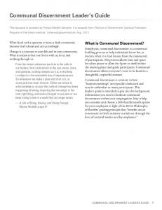 Communal Discernment Leader s Guide