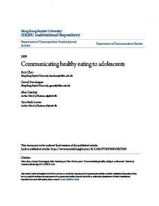 Communicating healthy eating to adolescents