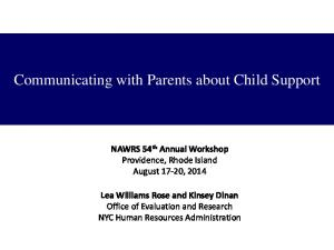 Communicating with Parents about Child Support