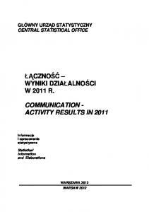 COMMUNICATION - ACTIVITY RESULTS IN 2011