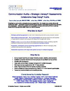Communication Audits Strategic Literacy SM Assessments