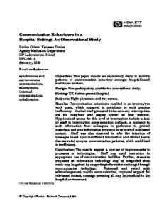 Communication Behaviours in a Hospital Setting: An Observational Study