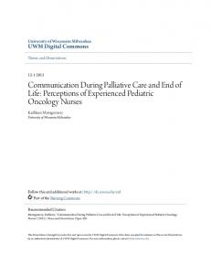 Communication During Palliative Care and End of Life: Perceptions of Experienced Pediatric Oncology Nurses