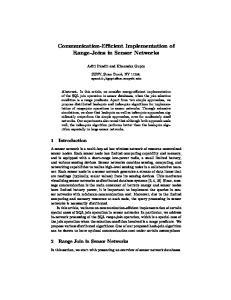 Communication-Efficient Implementation of Range-Joins in Sensor Networks