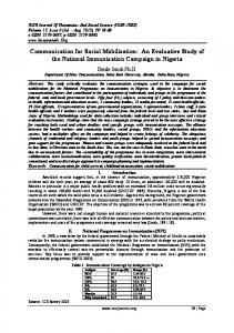 Communication for Social Mobilization: An Evaluative Study of the National Immunization Campaign in Nigeria
