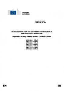 COMMUNICATION FROM THE COMMISSION TO THE EUROPEAN PARLIAMENT AND THE COUNCIL. Implementing the Energy Efficiency Directive Commission Guidance
