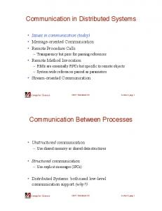 Communication in Distributed Systems. Communication Between Processes