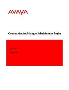 Communication Manager Administrator Logins