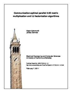 Communication-optimal parallel 2.5D matrix multiplication and LU factorization algorithms