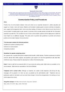 Communication Policy and Procedures