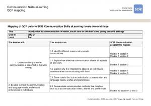 Communication Skills elearning QCF mapping