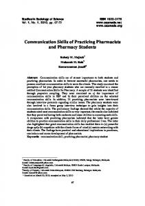 Communication Skills of Practicing Pharmacists and Pharmacy Students