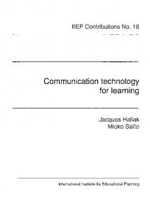 Communication technology for learning