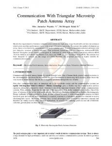 Communication With Triangular Microstrip Patch Antenna Array