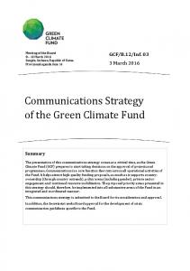 Communications Strategy of the Green Climate Fund