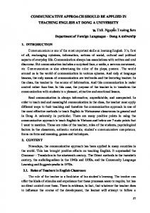 COMMUNICATIVE APPROACH SHOULD BE APPLIED IN TEACHING ENGLISH AT DONG A UNIVERSITY