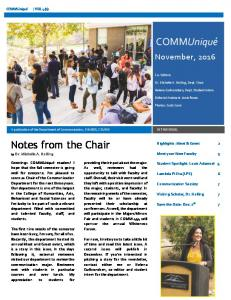 COMMUniqué. Notes from the Chair. November, Highlights: Meet & Greet 2. Meet your New Faculty 3