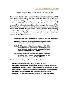 COMMUNISM AND COMMUNISM IN CHINA