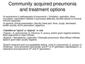 Community acquired pneumonia and treatment options