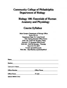 Community College of Philadelphia Department of Biology. Course Syllabus