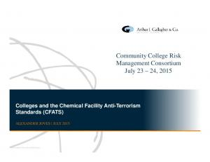 Community College Risk Management Consortium July 23 24, 2015