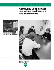 Community Conflicts Over Agriculture, Land Use, and Natural Resources