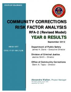 COMMUNITY CORRECTIONS RISK FACTOR ANALYSIS