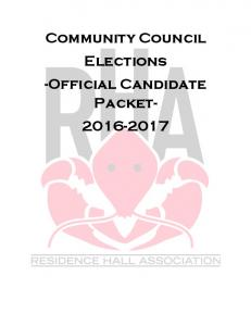 Community Council Elections -Official Candidate Packet