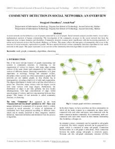 COMMUNITY DETECTION IN SOCIAL NETWORKS: AN OVERVIEW