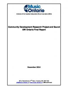 Community Development Research Project and Sound Off! Ontario Final Report