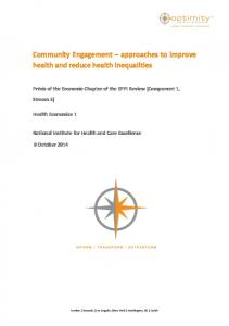 Community Engagement approaches to improve health and reduce health inequalities
