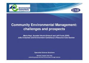Community Environmental Management: challenges and prospects