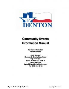 Community Events Information Manual