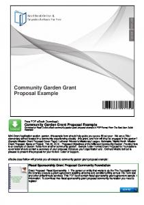 Community Garden Grant Proposal Example