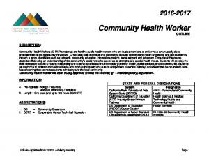 Community Health Worker OUTLINE