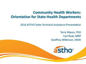 Community Health Workers: Orientation for State Health Departments