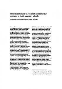 community involvement and behaviour problems in Dutch secondary schools
