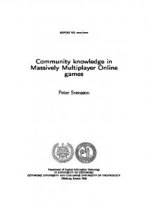 Community knowledge in Massively Multiplayer Online games