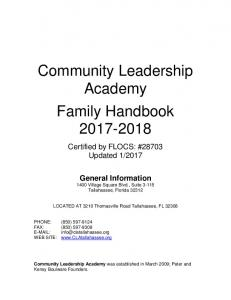 Community Leadership Academy Family Handbook