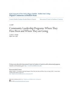 Community Leadership Programs: Where They Have Been and Where They are Going