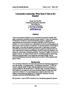 Community Leadership: What Does it Take to See Results?