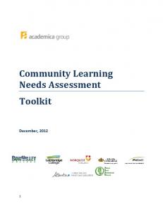 Community Learning Needs Assessment Toolkit