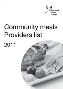 Community meals Providers list